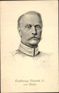Künstler Ak Großherzog Friedrich II. von Baden, Portrait in Uniform, Orden