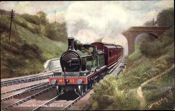 Künstler Ak Glasgow Express, G&SWR, Schottischer Schnellzug, Dampflokomotive, Tuck No. 9150