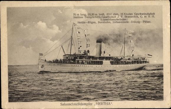 Ak Salonschnelldampfer Hertha, Reederei Braeunlich Stettin