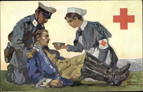 Künstler Ak Krause, William, Rotes Kreuz Königr. Sachsen, verwundeter Soldat, Krankenschwester