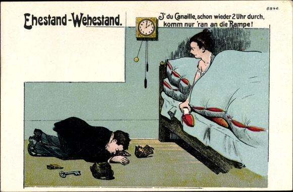 Litho Ehestand, Wehestand, Canaille, Wanduhr, Ehehumor, Betrunkener Mann, Bürger & Ottilie 6846