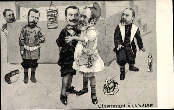 Ak L'Invitation à la Valse, Émile Loubet, Zar Nikolaus II., King Edward VII., Kaiser Wilhelm II.