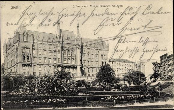 Ak Szczecin Stettin Pommern, Rathaus, Manzelbrunnen, Anlagen