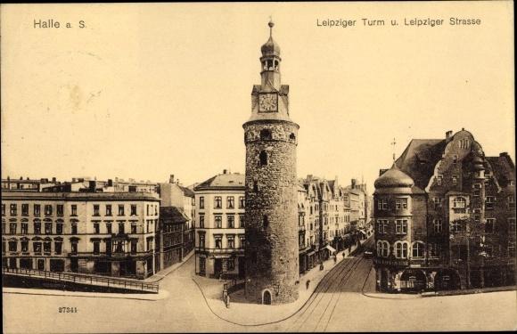 Ak Halle an der Saale, Leipziger Turm und Leipziger Straße, Geschäftshäuser