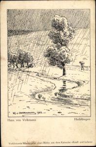 Künstler Ak Volkmann, Hans von, Herbstregen, Landschaftsansicht
