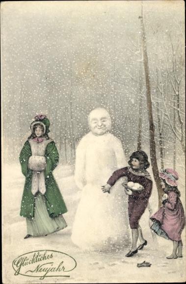 Ak Glückwunsch Neujahr, Kinder verstecken sich hinter einem Schneemann