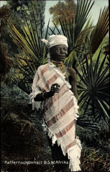 Ak Namibia, Deutsch Südwestafrika, Kaffernschönheit, Portrait