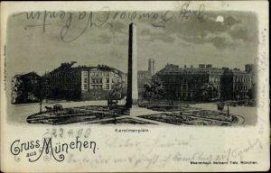 Mondschein Litho München Bayern, Karolinenplatz
