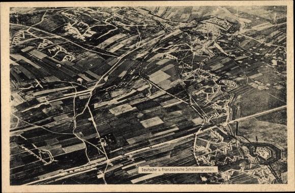Ak Fliegeraufnahme, Deutsche und französische Schützengräben