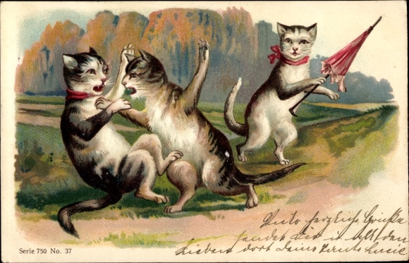 Präge Litho Katzen beim Streit, Kampf, vermenschlichte Katze mit Schirm