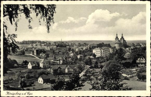 Ak Kynšperk nad Ohří Königsberg Eger Reg. Karlsbad, Panorama vom Ort