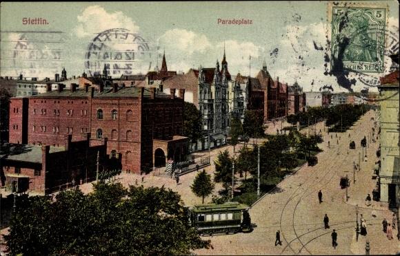 Ak Szczecin Stettin Pommern, Paradeplatz, Hauptwache, Oberpostdirektion, Straßenbahn