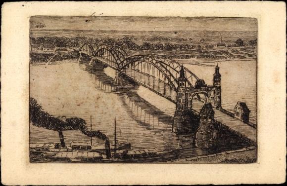 Künstler Ak Sowjetsk Tilsit Ostpreußen, Königin Luise Brücken, Dampfer, Uferpartie
