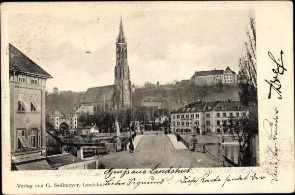 Ak Landshut in Niederbayern, Straßenpartie mit Basilika St. Martin