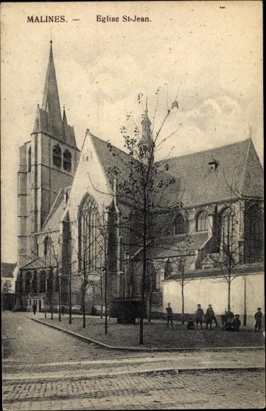 Ak Mechelen Malines Flandern Antwerpen, Eglise St. Jean, Kirche, Straßenansicht