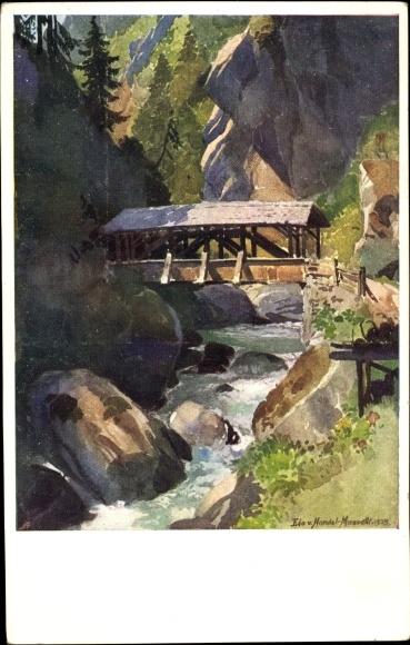 Künstler Ak v. Handel Mazzetti, Edo, Zillertal Tirol, Der Karlsteg, Brücke