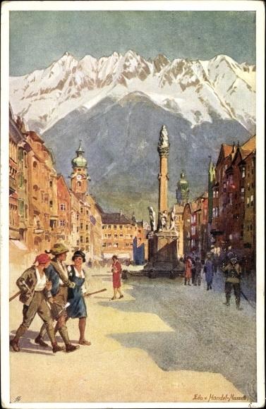Künstler Ak v. Handel Mazzetti, Edo, Innsbruck in Tirol, Maria Theresienstraße, Annasäule, Nordkette