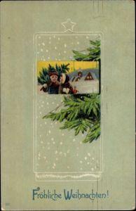 Präge Passepartout Litho Glückwunsch Weihnachten, Junge und Mädchen mit Tannenbaum