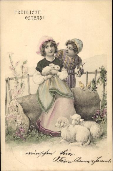 Ak Glückwunsch Ostern, Mädchen mit Hase im Arm, Lämmer, Küken, Junge mit Weidenkätzchenzweig