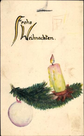 Handgemalt Ak Glückwunsch Weihnachten, Brennende Kerze auf einem Tannenzweig