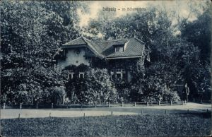 Ak Leipzig in Sachsen, Altes Haus im Scheibenholz, Parkpartie
