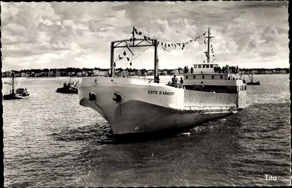 Ak Royan Charente Maritime, Bac de Royan à la Pointe de Grave, Frachter Cote d'Argent