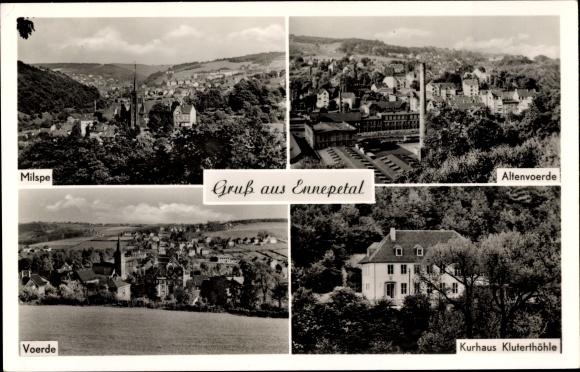 Litho Ennepetal in Nordrhein Westfalen, Sicht auf Milspe, Altenvoerde, Voerde, Kurhaus Kluterhöhle