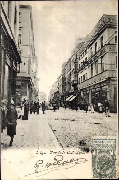 Ak Liège Lüttich Wallonien, Rue de la Cathedrale