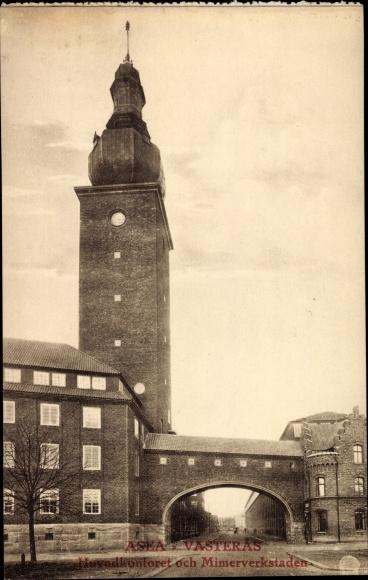 Ak Västerås Schweden, ASEA, Huvudkontoret och Mimerverkstaden