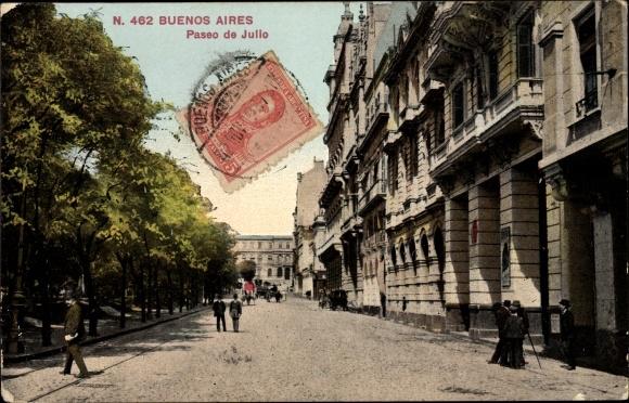 Ak Buenos Aires Argentinien, Paseo de Julio, Straßenpartie