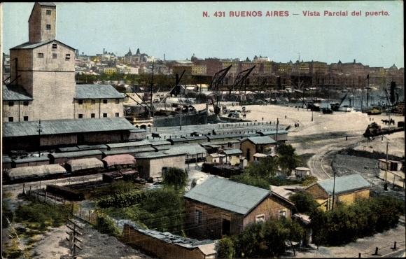 Ak Buenos Aires Argentinien, Vista Parcial de Puerto, Hafen, Teilansicht