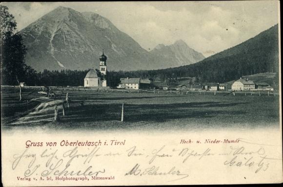 Ak Leutasch in Tirol, Panorama vom Ort m. Hoch u. Niedermunde