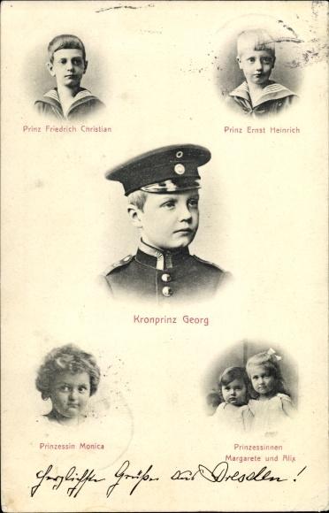 Ak Kronprinz Georg von Sachsen, Prinz Friedrich Christian, Ernst Heinrich, Prinzessin Monica, Alix