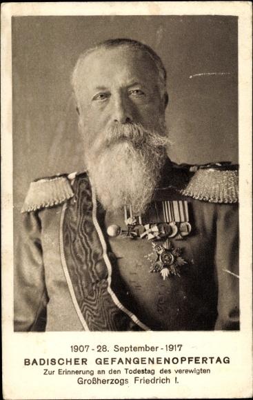 Ak Großherzog Friedrich I. von Baden, Portrait, Orden, Gefangenenopfertag, Trauerkarte