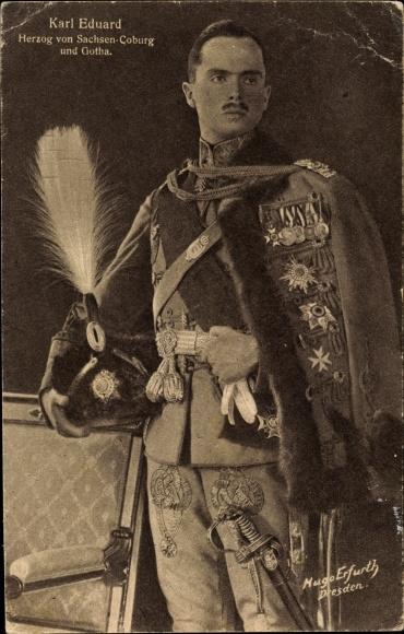 Ak Carl Eduard Herzog von Sachsen Coburg und Gotha, Portrait in Uniform