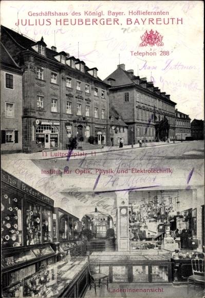 Ak Bayreuth in Oberfranken, Königl. Bayer. Hoflieferant Julius Heuberger, Luitpoldplatz 11, Inneres