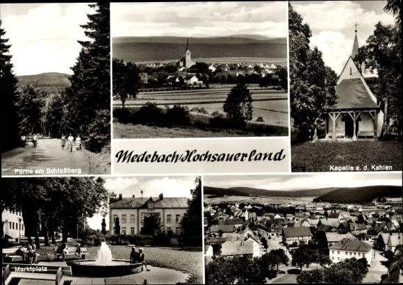 Ak Medebach im Hochsauerlandkreis, Partie am Schlßberg, Kapelle, Marktplatz, Brunnen, Kirche