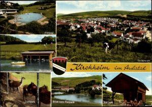 Wappen Ak Kirchheim in Hessen, Freibad, Bootsteich, Tierpark, Teilansicht vom Ort