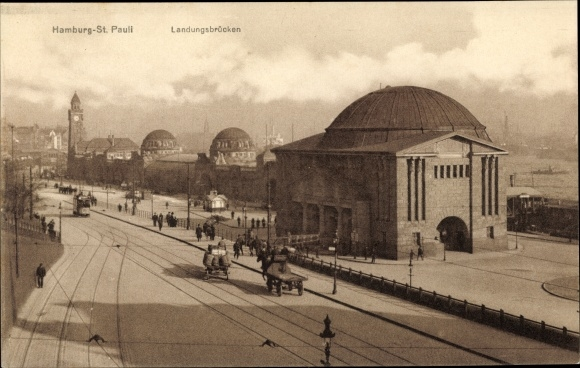 Ak Hamburg St. Pauli, Landungsbrücken, Uhrenturm, Kutsche