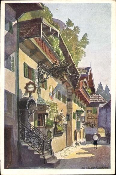Künstler Ak v. Handel Mazzetti, Edo, Kufstein in Tirol, Römerhofgasse, Weinstube, Gasthaus