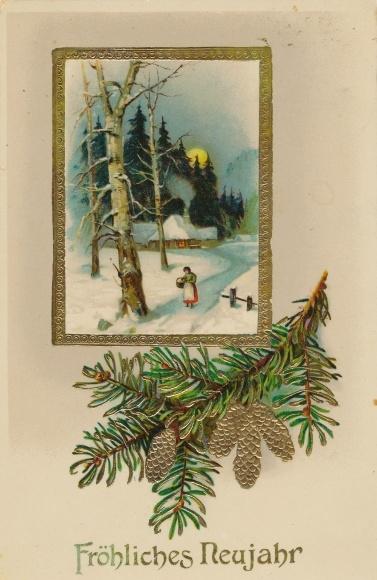 Passepartout Präge Litho Glückwunsch Neujahr, Tannenzweig mit Zapfen, Winterlandschaft
