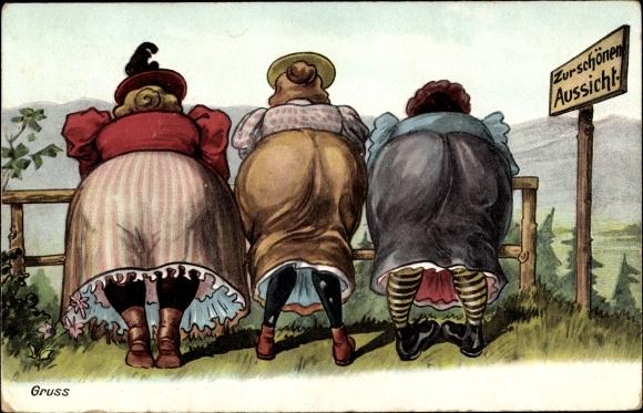 Künstler Ak Drei dicke Frauen lehnen sich über einen Zaun, Hintern, Zur schönen Aussicht