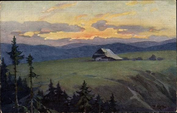 Künstler Ak Reiss, Fritz, Sommer im Schwarzwald, Landschaft mit einem Schwarzwaldhaus