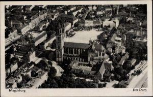 Ak Magdeburg an der Elbe, Sicht auf den Dom aus der Luft