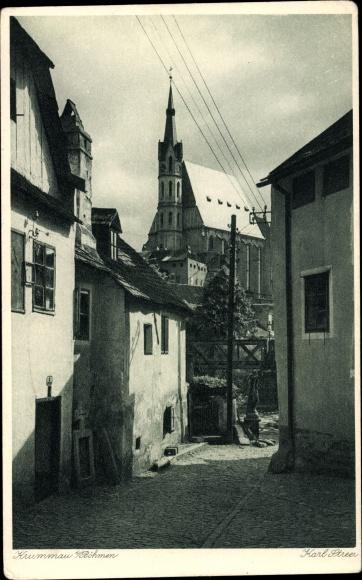 Ak Český Krumlov Krumau Reg. Südböhmen, Straßenpartie, Kirche