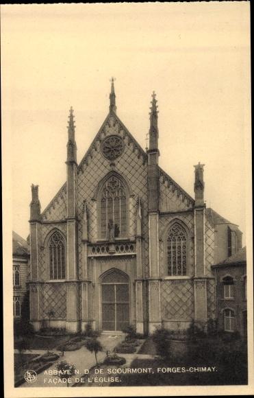 Ak Forges Chimay Wallonien Hennegau, Abbaye N. D. de Scourmont, Façade de l'Église