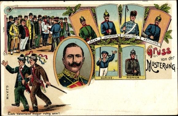 Litho Musterung, Jäger, Infanterie, Kavallerie, Artillerie, Marine, Pionier, Rekruten, Wilhelm II.