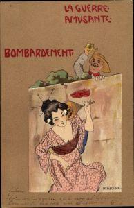 Jugendstil Künstler Litho Kirchner, Raphael, Bombardement, La guerre amusante