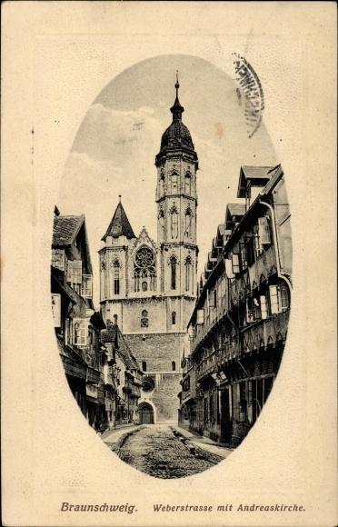 Passepartout Präge Ak Braunschweig in Niedersachsen, Weberstraße mit Andreaskirche