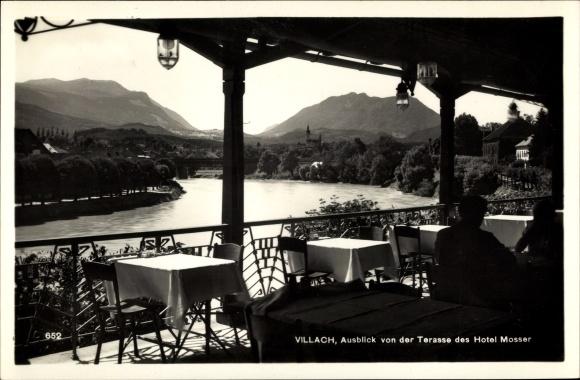 Ak Villach in Kärnten, Hotel Mosser, Aussicht von der Terrasse